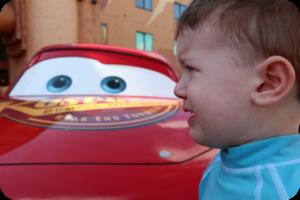 sad baby with Lightening McQueen