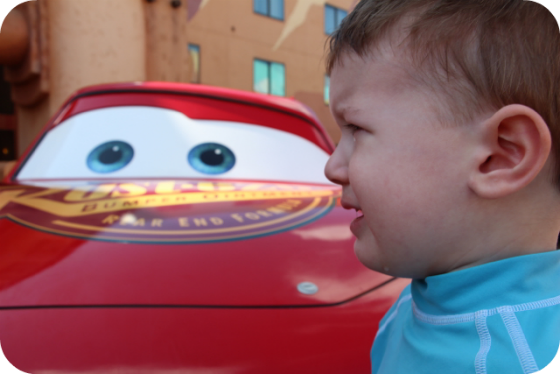 sad baby with Lightening McQueen