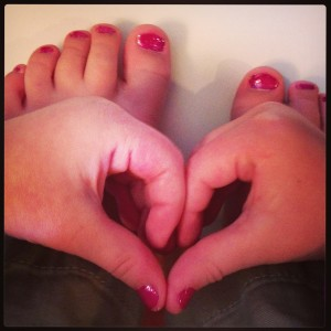 cute toes with piggy paint